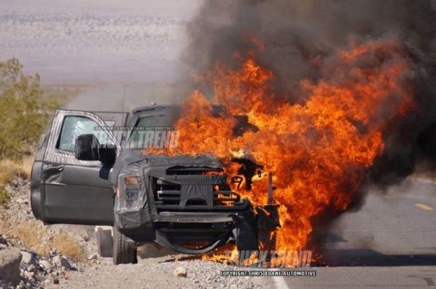 2016-ford-f-series-super-duty-prototype-front-view-on-fire