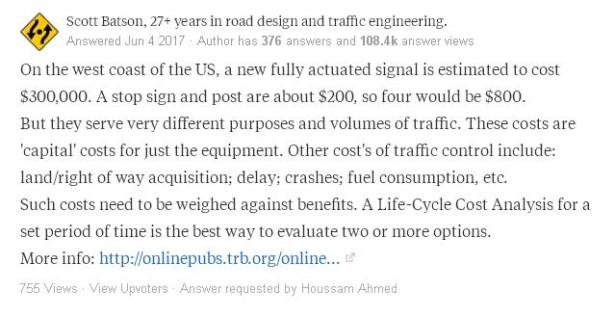 Traffic light cost